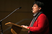 Dr. Deana L. Porterfield, president of Roberts Wesleyan College, speaks during a campus-wide meeting on Friday, February 5, 2016 to discuss a dorm break-in where racial slurs were left.