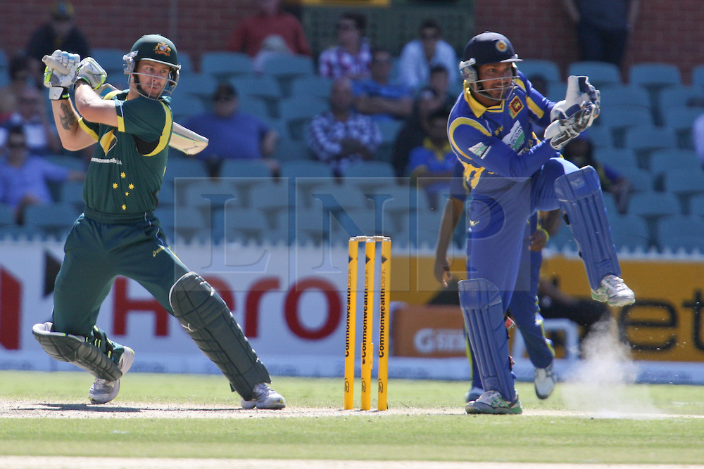 © Licensed to London News Pictures. 08/03/2012. Adelaide Oval, Australia. Matthew Wade plays a cut shot during the One Day International cricket match final between Australia Vs Sri Lanka. Photo credit : Asanka Brendon Ratnayake/LNP