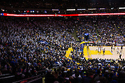 Golden State Warriors fans clap their Boom Sticks to distract the LA Clippers during a free throw attempt at Oracle Arena in Oakland, Calif., on February 23, 2017. (Stan Olszewski/Special to S.F. Examiner)