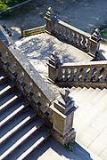 Stair case at the main entrance to Alameda park, Santiago de Compostela, Galicia, Spain.