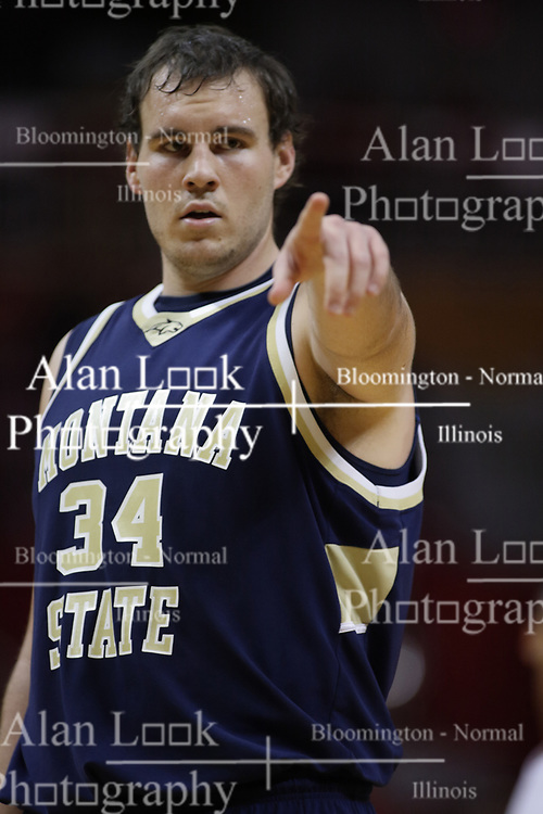 04 December 2010: Cody Anderson gives some direction during an NCAA basketball game between the Montana State Bobcats and the Illinois State Redbirds at Redbird Arena in Normal Illinois.