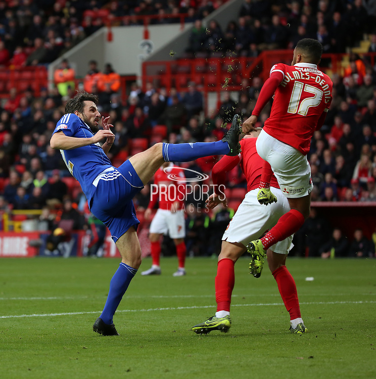 Ipswich midfielder Jonathan Douglas with a high foot during the Sky Bet Championship match between Charlton Athletic and Ipswich Town at The Valley, London, England on 28 November 2015. Photo by Matthew Redman.