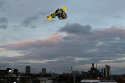 © Licensed to London News Pictures. 29/10/2011, London, UK.  The Netherlands' Joris Ouwerkerk jumps during the final of FIS Snowboard World Cup Bir Air competition at the Freeze Snowboard and Ski Festival at Battersea Power Station in London, Saturday, Oct. 29, 2011. Photo credit : Sang Tan/LNP