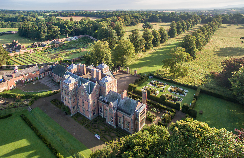 Aerial view of Kiplin Hall in North Yorkshire, UK.