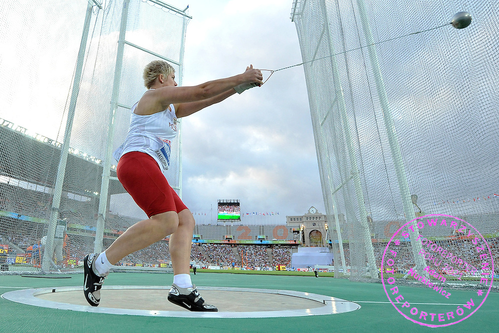 ANITA WLODARCZYK (POLAND) COMPETES IN THE WOMEN'S HAMMER THROW FINAL DURING THE 2010 EUROPEAN ATHLETICS CHAMPIONSHIPS AT OLYMPIC STADIUM IN BARCELONA, SPAIN...SPAIN , BARCELONA , JULY 30, 2010..( PHOTO BY ADAM NURKIEWICZ / MEDIASPORT )..PICTURE ALSO AVAIBLE IN RAW OR TIFF FORMAT ON SPECIAL REQUEST.