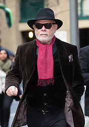 © Licensed to London News Pictures. 14/01/2015. London, UK. Former pop star, Gary Glitter (real name Paul Gadd) arrives at Southwark Crown Court in London on 14 January 2015, accused of a number of sex offences against two girls. Glitter denied all the charges at a hearing last year. Photo credit : Vickie Flores/LNP