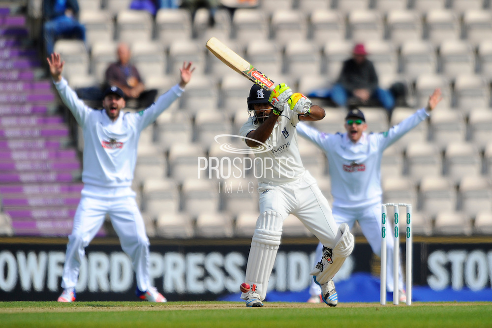 Warwickshire's batsman Varun Chopra is cought LBW off the bowling of Hampshire's Fidel Edwards during the Specsavers County Champ Div 1 match between Hampshire County Cricket Club and Warwickshire County Cricket Club at the Ageas Bowl, Southampton, United Kingdom on 12 April 2016. Photo by Graham Hunt.