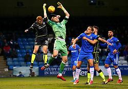 Rory Gaffney of Bristol Rovers challenges Tomas Holy of Gillingham - Mandatory by-line: Robbie Stephenson/JMP - 16/12/2017 - FOOTBALL - MEMS Priestfield Stadium - Gillingham, England - Gillingham v Bristol Rovers - Sky Bet League One