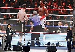 October 1, 2018 - Kiev, Ukraine - Former Boxing Champion LENNOX LEWIS (R) and former heavyweight boxing champion and current Mayor of Kiev VITALI KLITSCHKO (L) are arguing as they are watching on the screen their fight that was in Los Angeles 21 June 2003, during the opening of the 56th World Boxing Convention in Kiev, Ukraine, on 1 October 2018. The WBC 56th congress in which take part boxing legends Evander Holyfield,Lennox Lewis, Eric Morales and about 700 participants from 160 countries runs in Kiev from from September 30 to October 5. (Credit Image: © Serg Glovny/ZUMA Wire)