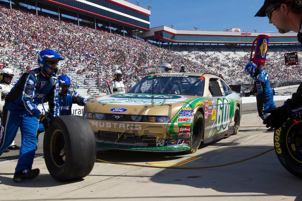 BRISTOL, TN - MAR 19, 2011:  Carl Edwards (60) comes in for a pit stop during the Scotts EZ Seed 300 race at the Bristol Motor Speedway in Bristol, TN.