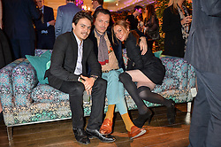 Left to right, EGOR TARABASOV, MATTHEW WILLIAMSON and LINDSAY LOHAN at the Duresta For Matthew Williamson Exclusive Launch At Harrods, Knightsbridge, London on 10th March 2016.