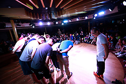 LGBT (lesbian, gay, bisexual and transgender) members bow to their parents in the audience to thank them for their support during the opening for the 10th National PFLAG conference on a cruise organised by Parents and Friends of Lesbians and Gays (PFLAG) on open seas on route to Sasebo, Japan, 15 June 2017. About 800 members of the Chinese LGBT (lesbian, gay, bisexual and transgender) community and their parents spent four days on a cruise trip organised by Parents and Friends of Lesbians and Gays (PFLAG) China, a grassroots non-government organisation, celebrating the 10th anniversary of the organisation. It aims to promote coexistence among homosexuals and their families.