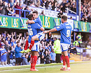 Portsmouth match winner Conor Chaplin celebrates his second goal during the Sky Bet League 2 match between Portsmouth and Barnet at Fratton Park, Portsmouth, England on 12 September 2015. Photo by David Charbit.