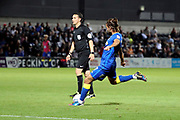 AFC Wimbledon defender George Francomb (7) with a shot on goal during the EFL Trophy match between Barnet and AFC Wimbledon at Underhill Stadium, London, England on 29 August 2017. Photo by Matthew Redman.