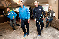 Bostjan Gasser and Kevin Kampl at the reception of Slovenian footballers before going on friendly match in Algeria, on 3rd March 2014, in Brdo pri Kranju, Slovenia. Photo by Urban Urbanc / Sportida.com