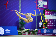 Griskenas Evita during final of ribbon at the World Cup Pesaro at Adriatic Arena on April 15, 2018. Evita is a promising young American athlete born in Chicago in 2000.Today is Senior Member of United States National Team.