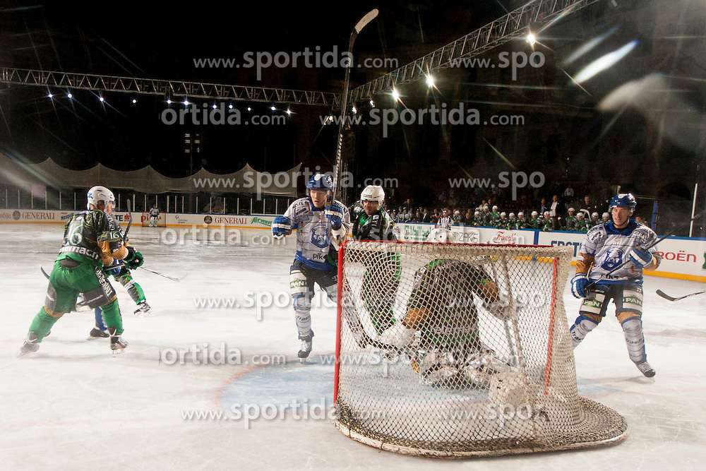 14.09.2012. Pula Arena, Pula, CRO, EBEL, KHL Medvescak Zagreb vs HDD Telemach Olimpija Ljubljana, 03. Runde, in picture goal of KHL Medvescak during the Erste Bank Icehockey League 3rd Round match between KHL Medvescak Zagreb and HDD Telemach Olimpija Ljubljana at the Pula Arena, Pula, Croatia on 2012/09/14. (Photo By Urban Urbanc / Sportida)
