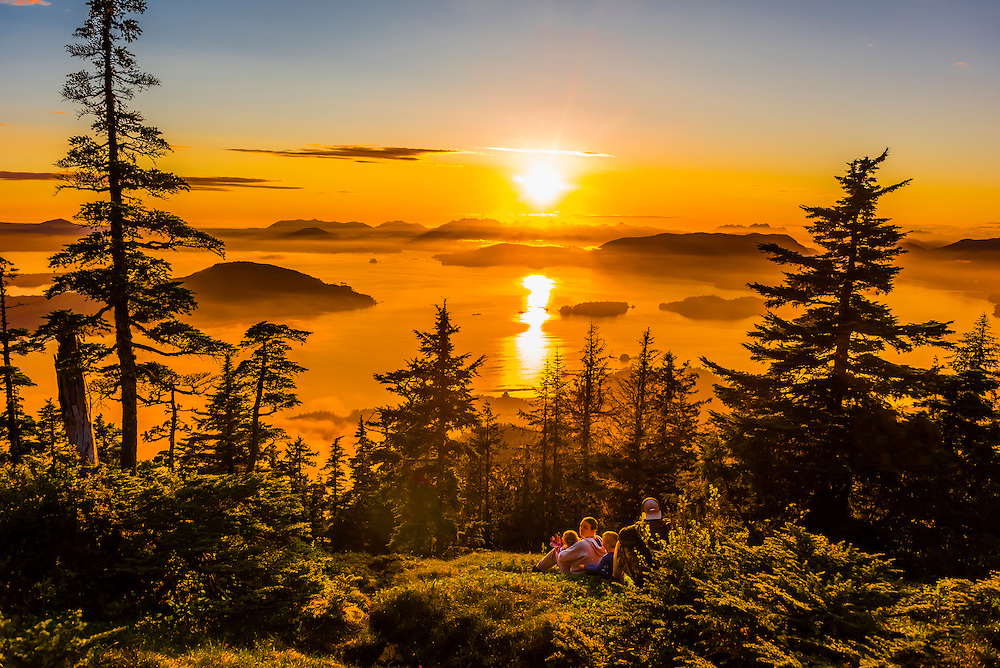 View from top of Harbor Mountain onto parts of Baranof and Kruzof Islands, near Sitka, Alaska USA.