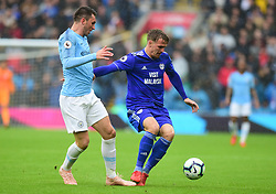 Danny Ward of Cardiff City battles for the ball with Aymeric Laporte of Manchester City - Mandatory by-line: Alex James/JMP - 22/09/2018 -  FOOTBALL - Cardiff City Stadium - Cardiff, Wales -  Cardiff City v Manchester City - Premier League