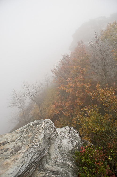 Misty mountain morning at the Chimney's on Table Rock, North Carolina