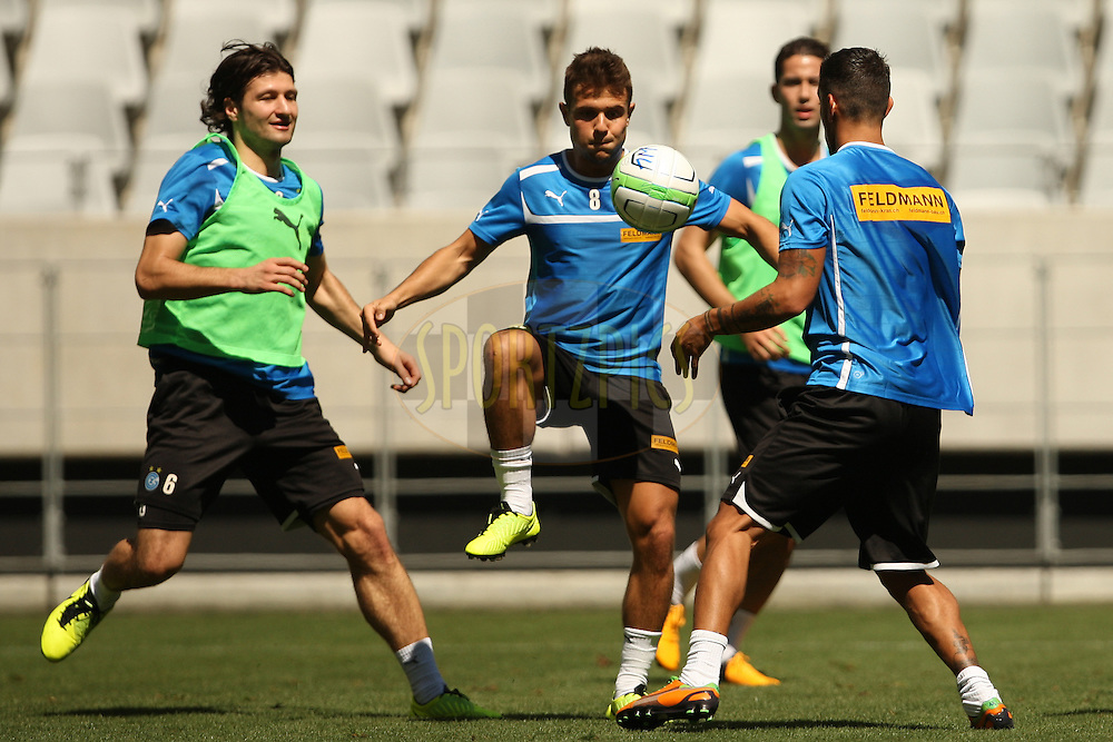 Players warming up while playing games during the Grasshoppers Club Zurich training session held at Cape Town Stadium in Cape Town South Africa on the 19th January 2013. Photo by:  Jacques Rossouw/Sportzpics