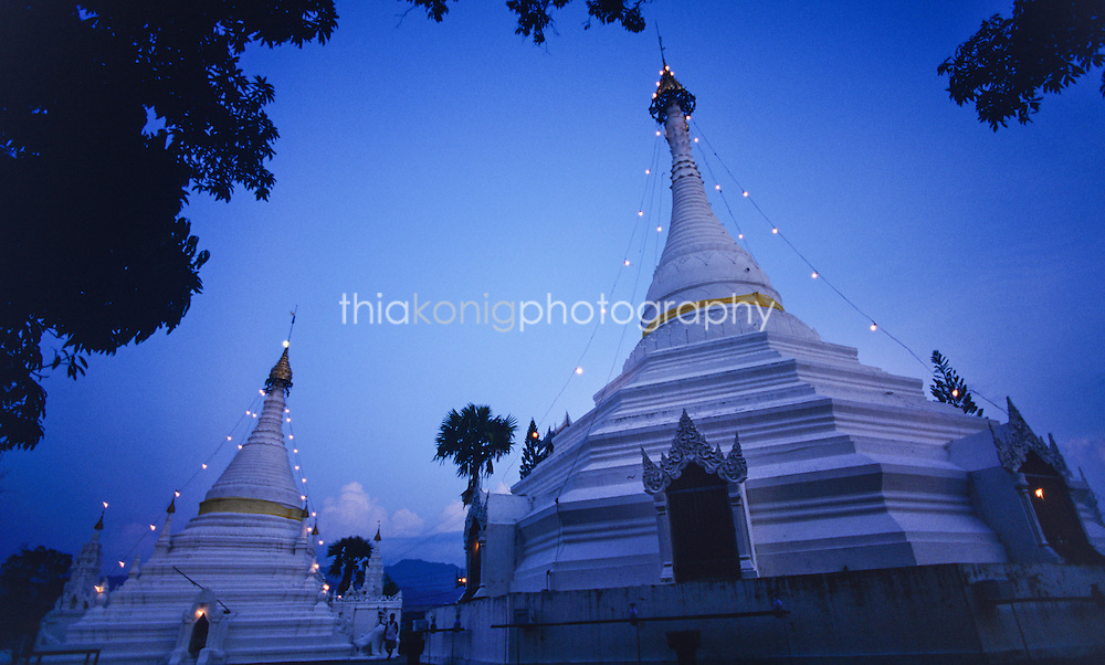 The White Temple Stupas at the top of the mountain overlooking Mae Hong Song, Thailand.