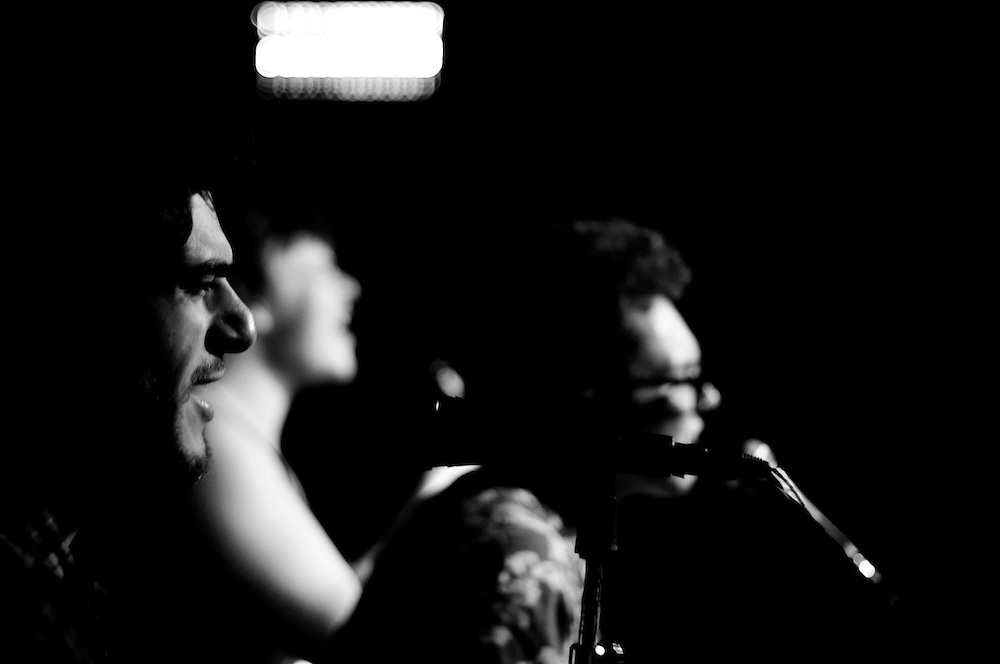 Joey Cassalini aka Crut Ummo of the Balls Out Booze Band in focus singing at the Eastside Club, Olympia, Washington
