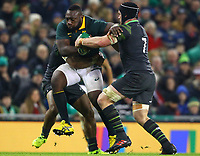 Rugby Union - 2017 Guinness Series (Autumn Internationals) - Ireland vs. South Africa<br /> <br /> South Africa's Tendai Mtawarira in action against Ireland's Bundee Aki and Sean O'Brien, at the Aviva Stadium.<br /> <br /> COLORSPORT/KEN SUTTON