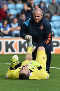 Colin Doyle injured  during the Sky Bet League 1 match between Scunthorpe United and Blackpool at Glanford Park, Scunthorpe, England on 5 September 2015. Photo by Ian Lyall.