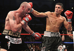 April 17, 2010; Atlantic City, NJ; USA; Sergio Martinez and Kelly Pavlik fight during their 12 round World Middleweight Championship bout at Boardwalk Hall.
