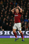 Northampton Town striker Sam Hoskins  reacts after seeing his shot go just wide of the goal during the The FA Cup match between Derby County and Northampton Town at the Pride Park, Derby, England on 4 February 2020.