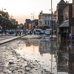 London, UK - 19 September 2014: a view of Wick Road as torrential rains cause floods and travel disruptions in East London
