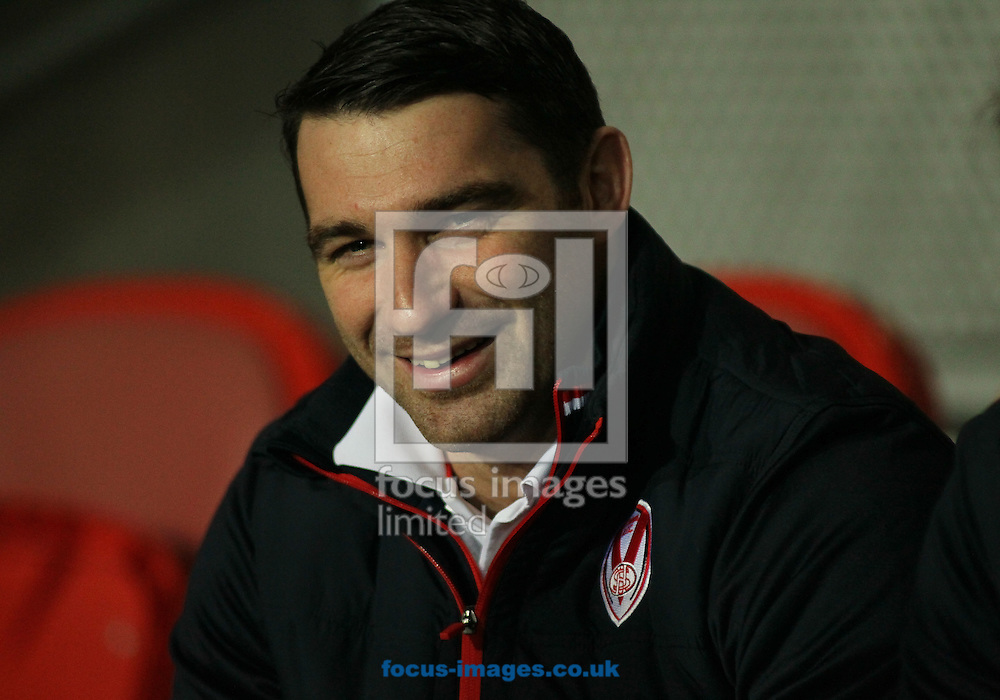 Matty Smith of St Helens sits on the bench injured ahead  the Betfred Super League match at the Totally Wicked Stadium, St Helens<br /> Picture by Stephen Gaunt/Focus Images Ltd +447904 833202<br /> 09/02/2017