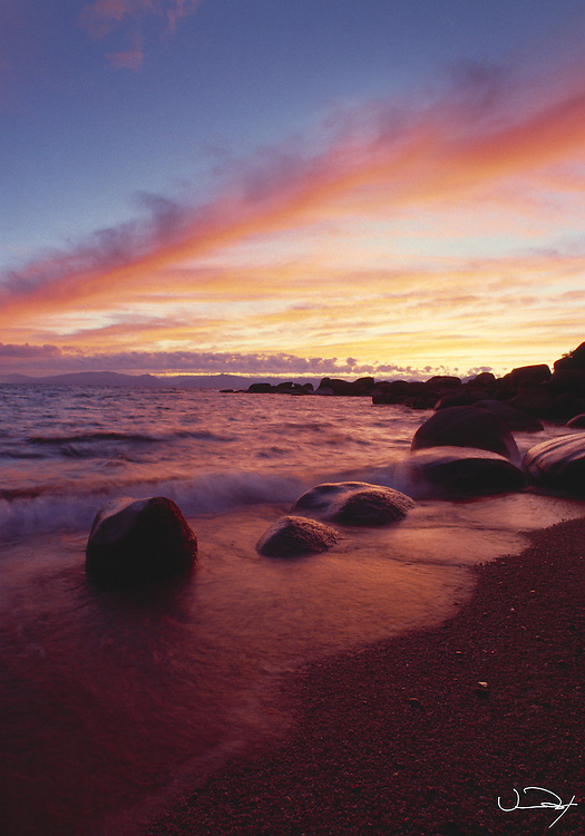 Lake Tahoe Scenic Sunset Shoreline with waves