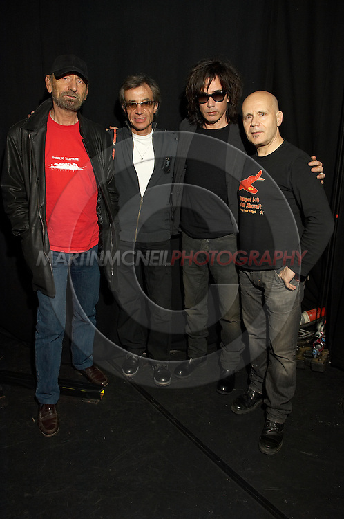 Musicians Dominique Perrier, Francis Rimbert, Jean-Michel Jarre and Claude Samard pose for a photograph before the first night of their Oxygene world tour