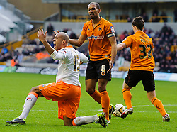 Blackpool Defender Neil Eardley (WAL) appeals for a penalty during the first half of the match - Photo mandatory by-line: Rogan Thomson/JMP - Tel: Mobile: 07966 386802 26/01/2013 - SPORT - FOOTBALL - Molineux Stadium - Wolverhampton. Wolverhampton Wonderers v Blackpool - npower Championship.