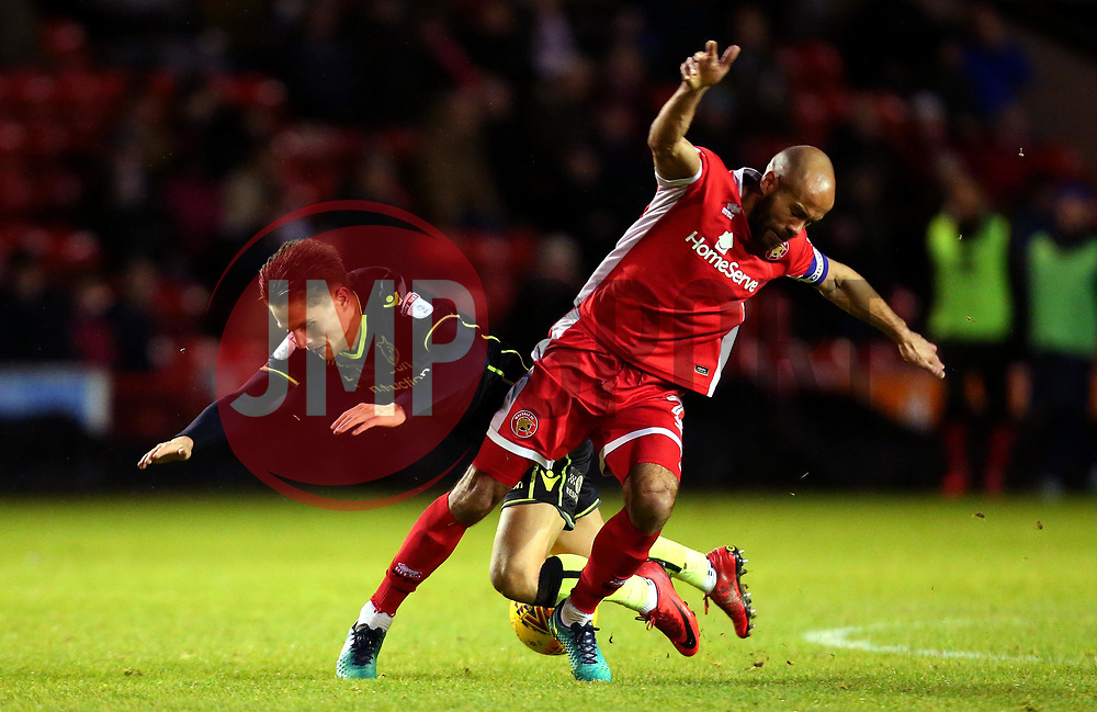 Tom Nichols of Bristol Rovers is tackled by Adam Chambers of Walsall - Mandatory by-line: Robbie Stephenson/JMP - 26/12/2017 - FOOTBALL - Banks's Stadium - Walsall, England - Walsall v Bristol Rovers - Sky Bet League One
