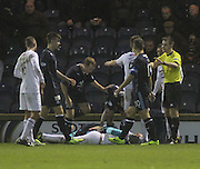 Kyle Letheren and Reece Donaldson lie prone on the ground in the aftermath of the incident which led to the Dundee keeper being stretchered off  - Raith Rovers v Dundee,  SPFL Championship at Starks Park<br /> <br />  - &copy; David Young - www.davidyoungphoto.co.uk - email: davidyoungphoto@gmail.com
