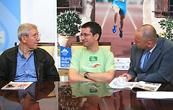 Lojze Mikolic, Rajmond Debevec and president of Slovenian Shooting Federation Gorazd Maloic at OKS press club with Slovenian olympic candidates, on June 5, 2008, at Tivoli conference room,  in Ljubljana, Slovenia.(Photo by Vid Ponikvar / Sportal Images)/ Sportida)