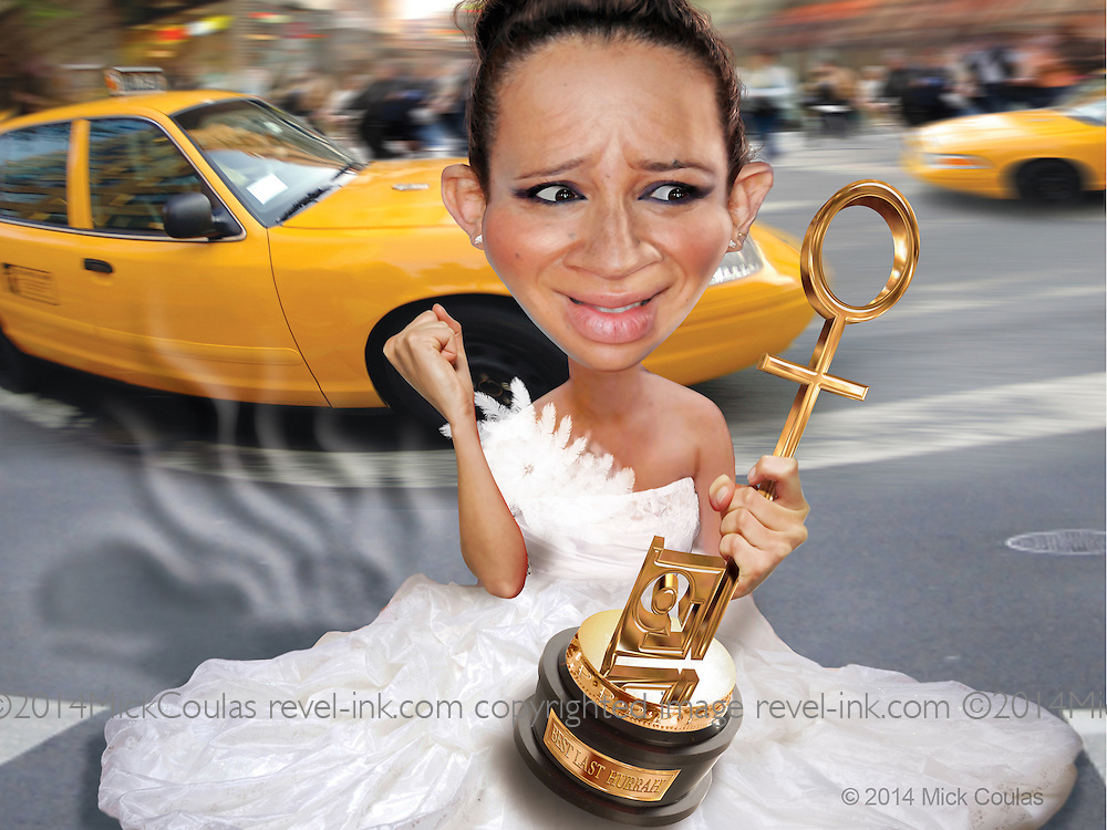 Caricature: Maya Rudolph gets the Penthouse Award for her gastrointestinal emergency at her bridal gown fitting. 3D modeling and Photoshop for Penthouse Full Frontal Entertainment Review.