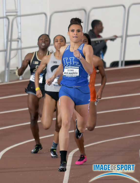 Mar 10, 2018; College Station, TX, USA; Sydney McLaughlin of Kentucky wins women's 400m heat in a world under age 20 record 50.36 during the NCAA Indoor Track and Field Championships at the McFerrin Athletic Center.