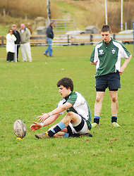 Connacht Junior Schools Rugby, Rice College V Garbally.Dwane Corcoran lines up a conversion for Rice College...Pic Conor McKeown