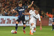 Leeds United midfielder Mateusz Klich (43) on the attack during the EFL Sky Bet Championship match between Swansea City and Leeds United at the Liberty Stadium, Swansea, Wales on 21 August 2018.