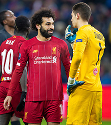 SALZBURG, AUSTRIA - Tuesday, December 10, 2019: Liverpool's Mohamed Salah speaks with FC Salzburg's goalkeeper Cican Stankovic during the final UEFA Champions League Group E match between FC Salzburg and Liverpool FC at the Red Bull Arena. (Pic by David Rawcliffe/Propaganda)