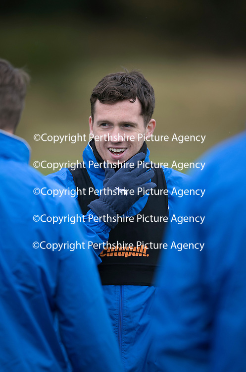 St Johnstone Training….14.10.16<br />Danny Swanson pictured in training this morning atr McDiarmid Park ahead of tomorrows game against Kilmarnock<br />Picture by Graeme Hart.<br />Copyright Perthshire Picture Agency<br />Tel: 01738 623350  Mobile: 07990 594431