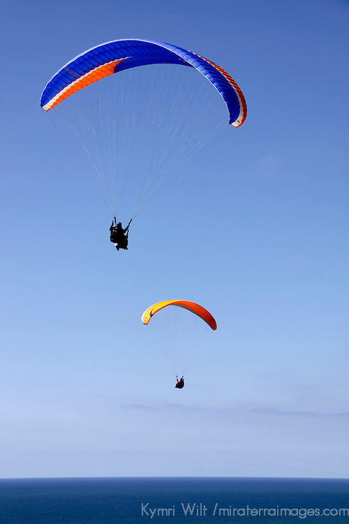 USA, California, San Diego, Torrey Pines. Paragliders in the sky.