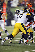 Pittsburgh Steelers defensive end Cameron Heyward (97) hits Cincinnati Bengals quarterback AJ McCarron (5) during the NFL AFC Wild Card playoff football game against the Cincinnati Bengals on Saturday, Jan. 9, 2016 in Cincinnati. The Steelers won the game 18-16. (©Paul Anthony Spinelli)