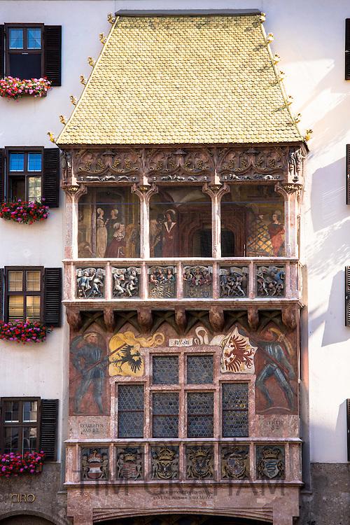 Goldenes Dachl, Golden Roof, built 1500 with fire-gilded copper tiles in Herzog Friedrich Strasse in Innsbruck the Tyrol Austria