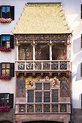 Goldenes Dachl, Golden Roof, built 1500 with fire-gilded copper tiles in Herzog Friedrich Strasse in Innsbruck the Tyrol Austria