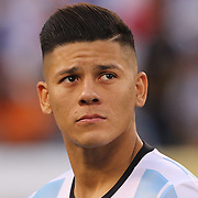 EAST RUTHERFORD, NEW JERSEY - JUNE 26:  Marcos Rojo #16 of Argentina during team presentations before   the Argentina Vs Chile Final match of the Copa America Centenario USA 2016 Tournament at MetLife Stadium on June 26, 2016 in East Rutherford, New Jersey. (Photo by Tim Clayton/Corbis via Getty Images)